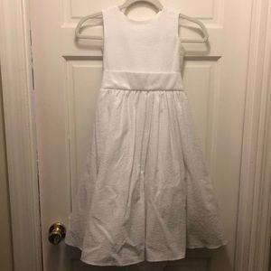 Girls White Seersucker Dress